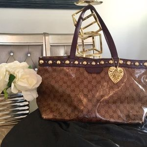Gucci Babouska Studded Tote Monogram Shoulder bag